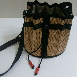Baskets of Cambodia Shoulder Bag Cinch Closure